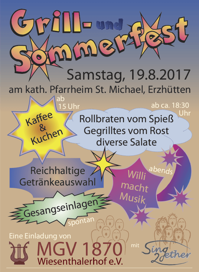 Sommerfest des MGV 1870 Wiesenthalerhof e.V. am 19. August 2017